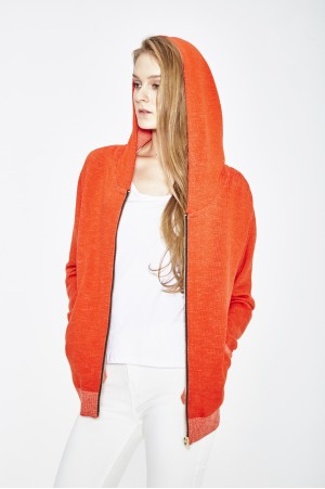 ORGANIC COTTON AND ECO EXTRAFIN MERINO WOOL hooded jacket
