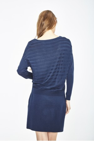 ECO EXTRAFIN MERINO WOOL DRESS 3D STRIPE