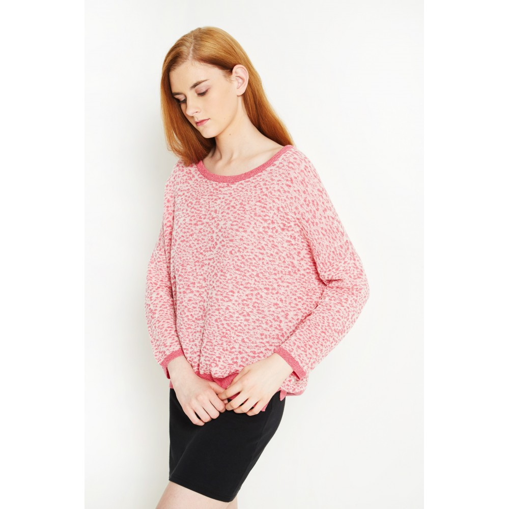 ORGANIC COTTON AND ECO MERINO WOOL SWEATER FLORAL LEOPARD