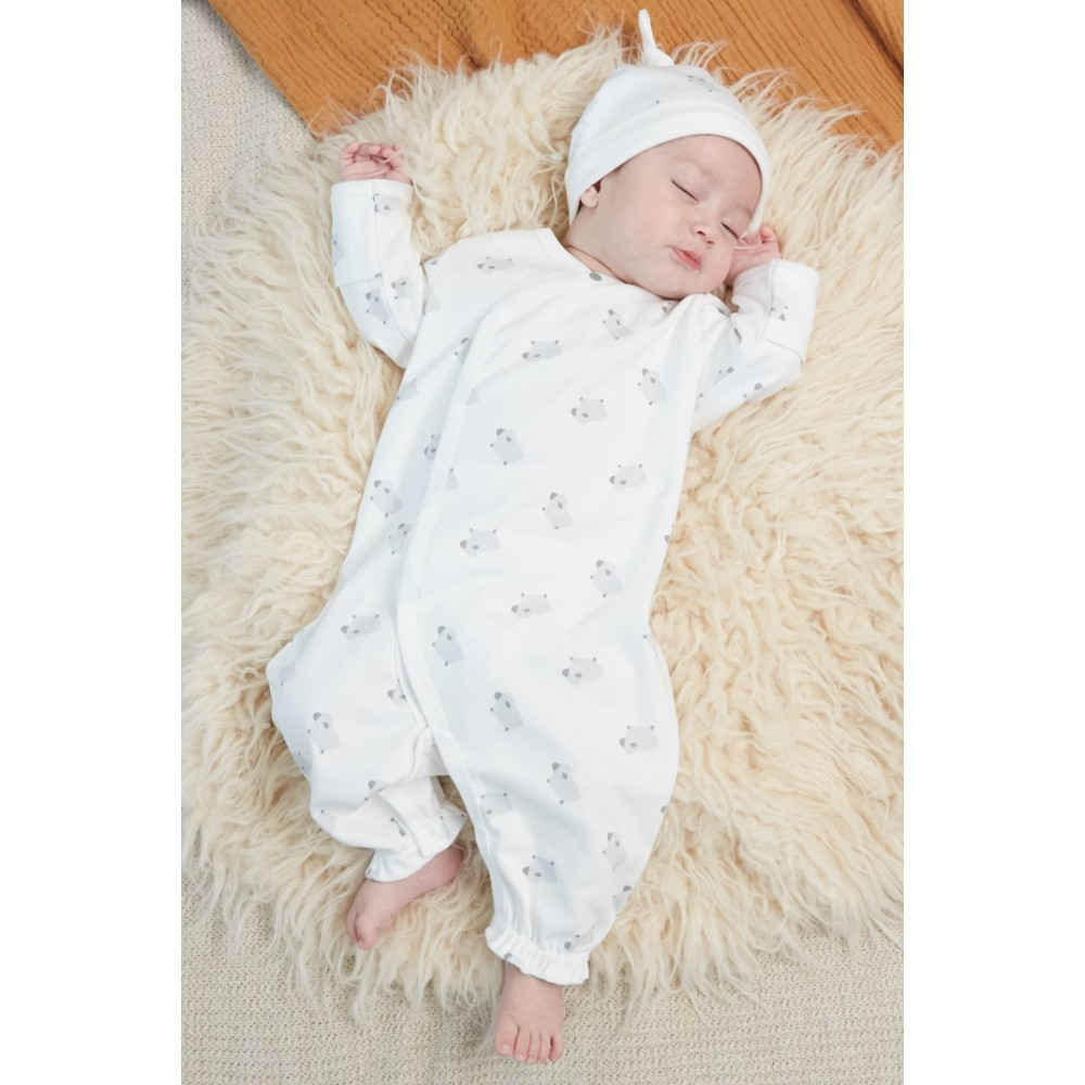ORGANIC COTTON BABY COMBINATION AND HAT