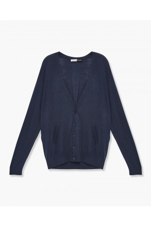 CARDIGAN ECO LAINE MERINOS EXTRAFINE AVEC BOUTON BIODEGRADABLE
