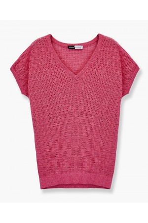 ORGANIC COTTON OPENWORK SWEATER STRIPED 3D