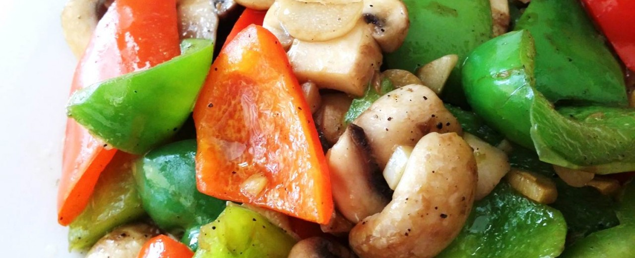Stir-fried organic mushrooms with bell peppers